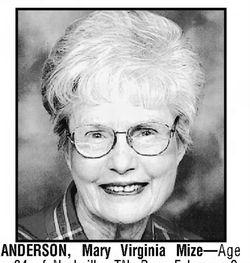 Mary Virginia <I>Mize</I> Anderson