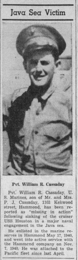 Pvt William R Cassaday