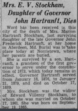 Marion <I>Hartranft</I> Stockham