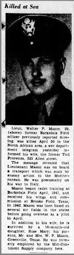 2Lt Walter P Mason