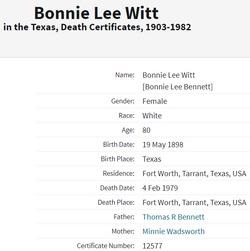Photos of Bonnie Lee Bennett Witt - Find A Grave Memorial