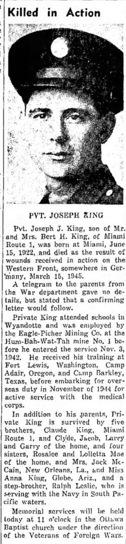 PVT Joseph J King