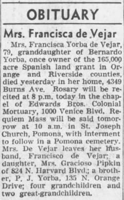 Francisca <I>Yorba</I> de Vejar