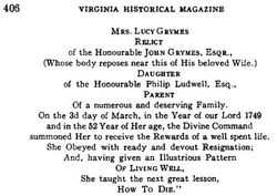 Lucy <I>Ludwell</I> Grymes