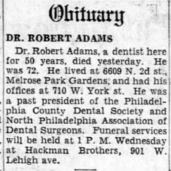 Dr Robert Adams, Jr