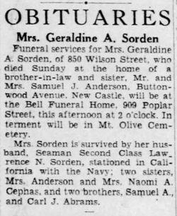 Geraldine Marie <I>Abrams</I> Sorden