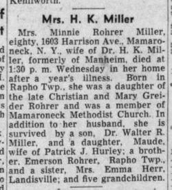 Minnie A. <I>Rohrer</I> Miller