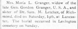 Maria H. <I>Letcher</I> Granger