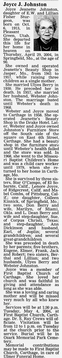 Joyce Jeanette <I>Sturgeon</I> Berry Johnston