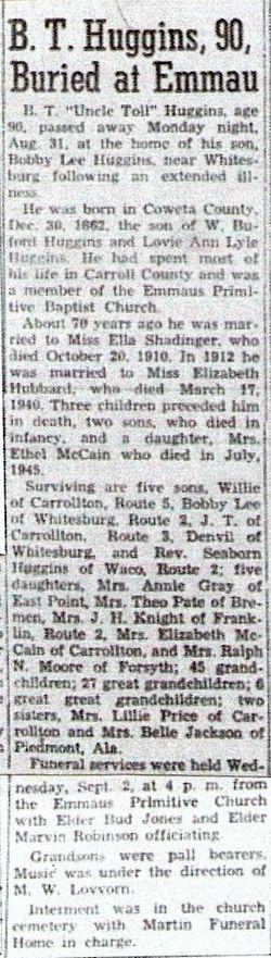 Bluford Tolison Huggins (1862-1953) - Find A Grave Memorial