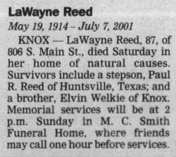 Lawayne W Welkie Reed 1914 2001 Find A Grave Gedenkstatte