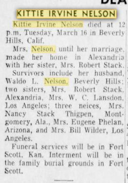 "Katherine ""Kittie"" <I>Irvine</I> Nelson"