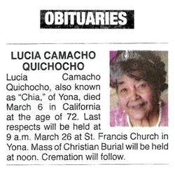 Lucia Camacho Quichocho (1947-2019) - Find A Grave Memorial