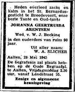 Johanna Geertruida <I>Arentsen</I> Becking