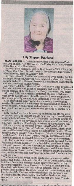 Lilly Simpson Peshlakai
