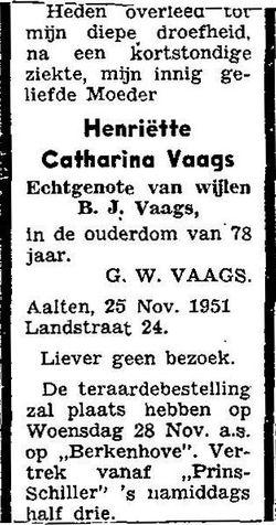 Henrietta Catharina <I>Vaags</I> Vaags