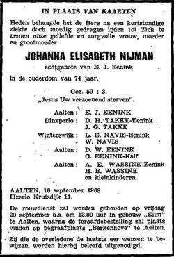 Johanna Elisabeth <I>Nijman</I> Eenink