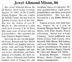 Jewell <I>Allmond</I> Mixon