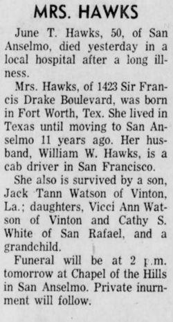 June Ann <I>Tann</I> Hawks