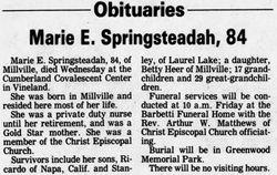 Mary E. <I>Surran</I> Springsteadah