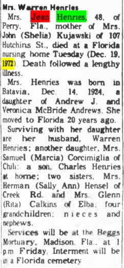Jean Elizabeth <I>Andrews</I> Henries