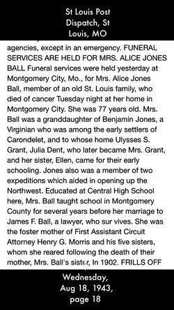 "Alice ""Allie"" <I>Jones</I> Ball"