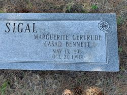 Marguerite Gertrude Casad <I>Bennett</I> Sigal