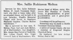 Sallie <I>Robinson</I> Melton