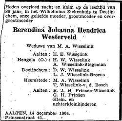 Berendina Johanna Hendrica <I>Westerveld</I> Wisselink