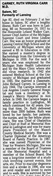 Dr Ruth Virginia <I>Carr</I> Carney