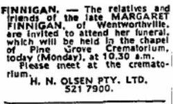 Margaret <I>Veness</I> Finnigan
