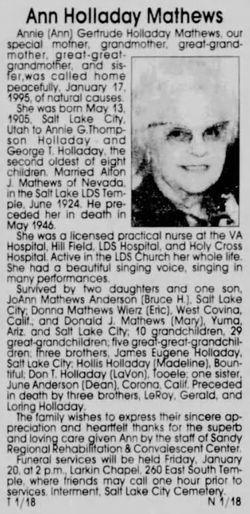 "Annie Gertrude ""Ann"" <I>Holladay</I> Mathews"