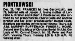 Frances M. <I>Garczynzski</I> Piontkowski