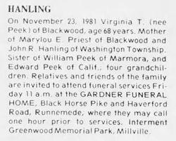 Virginia T. <I>Peek</I> Hanling
